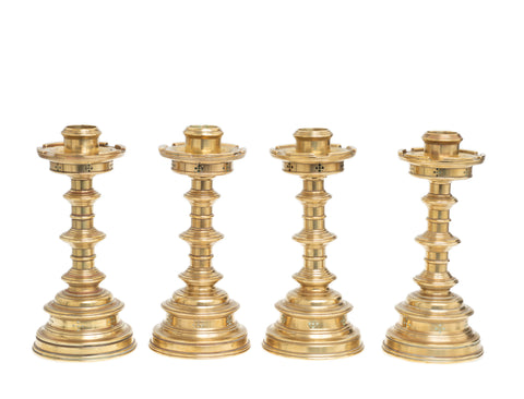 Set of 4 Antique Brass Candlesticks Victorian Gothic Lathe Turned & Castellated (Code 2413)