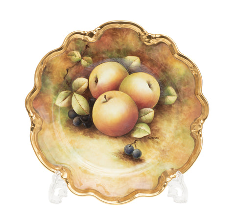 Vintage Coalport China Hand Painted Fruit Cabinet Plate with Apples - C Gidman (Code 2422)