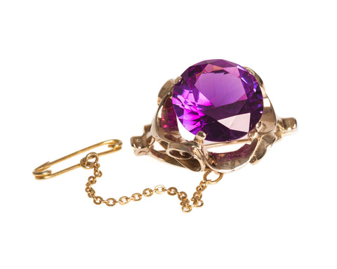 Vintage 9ct Gold Brooch with Large 15 Carat Alexandrite Colour Change Sapphire (Code 2432)