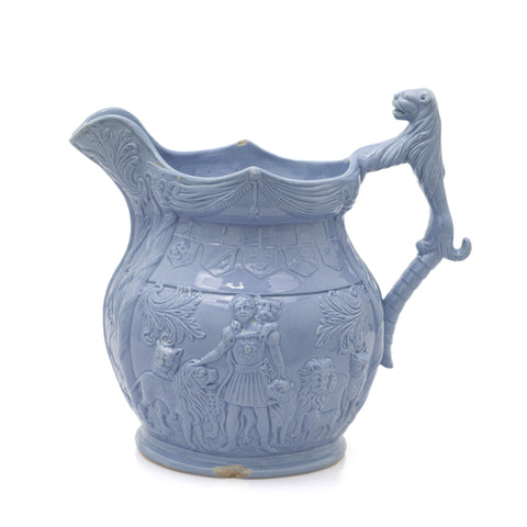 Isaac Van Amburgh Titus Menagerie Antique Staffordshire Moulded Stoneware Jug (Code 2439)