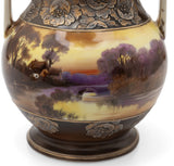 Antique Noritake Porcelain Vase Hand Painted Sunset Scene with Moulded Flowers (Code 2458)
