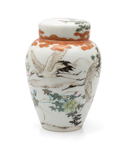 Antique Japanese Kutani Porcelain Flying Cranes Jar with Lid & Floral Designs (Code 2460)