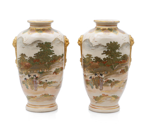 Pair Antique Satsuma Ware Pottery Vases by Hakusan - Japanese Meiji c1880 (Code 2473)