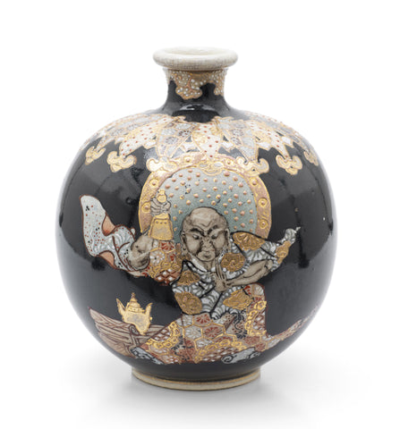Satsuma Ware Vase with Japanese Immortal On Black Ground - Meiji Period c1890 (Code 2478)