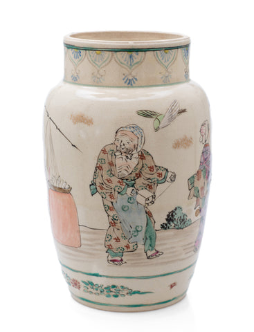 Japanese Satsuma Ware Vase with Large Female Characters & Birds Yasuda/Hododa (Code 2488)