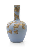 Antique Calvert & Lovatt Langley Ware Sgraffito Blue Stoneware Vase with Leaves (Code 2486)