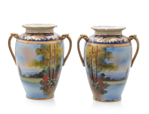 Pair Antique Noritake Porcelain Landscape/Seascape Vases with Twin Handles (Code 2490)