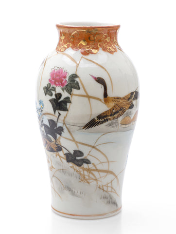 Antique Japanese Kutani Ware Porcelain Vase with Geese & Waterside Scene c1910 (Code 2491)