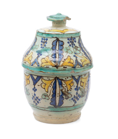 Antique Colonial Indian Multan / Sindh Pottery Storage Jar in Polychrome Glaze (Code 2516)