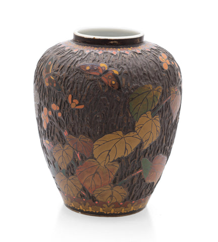 Japanese Totai Shippo Juhi Vase - Antique Cloisonne Porcelain Bark & Leaves (Code 2533)