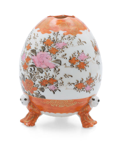 Japanese Kutani Ware Porcelain Vase Egg Shape Form with Feet as Children c1900 (Code 2535)