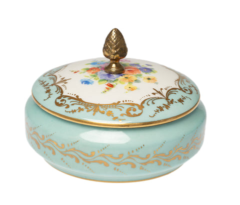 Atelier Camille Le Tallec Limoges Porcelain Hand Painted Lidded Jar - Turquoise (Code 2549)