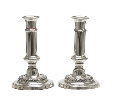 Pair Antique Silver Plated over Copper Telescopic Candlesticks - Victorian Era (Code 2563)