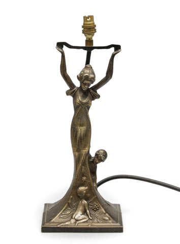 Art Deco Transitional Bronze Figural Table Lamp with Maiden & Children at Play (Code 2564)