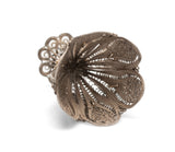 Antique Ottoman Islamic Silver Filigree Zarf of Petal Form with Flower Detail (Code 2565)