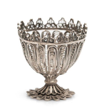 Antique Ottoman Islamic Silver Filigree Zarf With Coiled Forms & Castellated Rim (Code 2566)