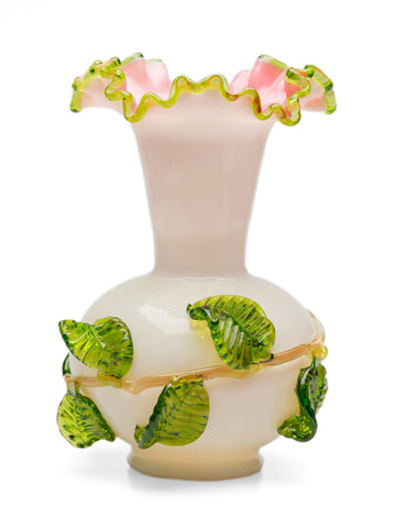 Stevens & Williams Antique Matsu No Ke Vaseline Glass Vase with Applied Leaves (Code 2578)