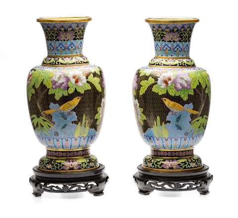 Pair Vintage Chinese Forbidden Palace Cloisonne Vases with Birds & Stands (Code 2582)