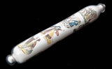 Rare Victorian Decalcomania Decorated Glass Rolling Pin with White Ground c1870 (Code 6382)
