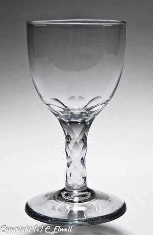 Antique Georgian English Lead Facet Stem Glass Wine Goblet with Large Bowl c1780 (Code 6828)