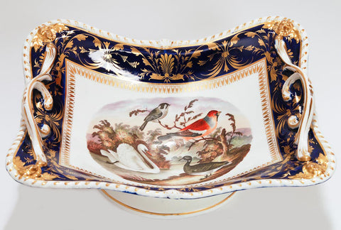 A Derby Bloor Period Hand Painted Porcelain Basket by Richard Dodson - Antique c.1820 (Code 7613) - Blue Cherry Antiques - 1
