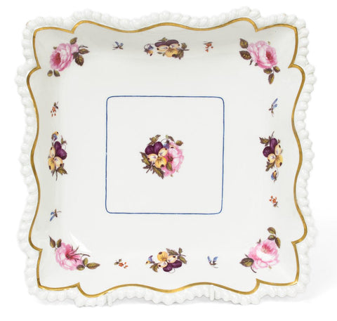 Worcester Flight Barr & Barr Hand Painted Flowers Square Form Dish - Antique (Code 7669) - Blue Cherry Antiques - 1