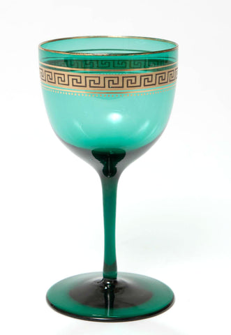 A 19th Century Antique Bristol Green Wine Glass with Gilded Greek Key Band (Code 7709) - Blue Cherry Antiques - 1