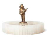 Art Deco White Onyx Dish with Austrian Cold Painted Pierrot Bronze Figure (Code 7786)