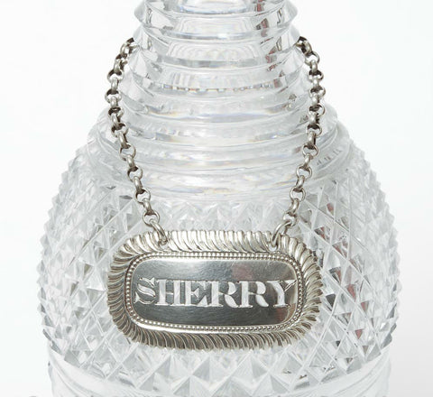 Georgian Solid Silver Decanter Label 'Sherry' Hallmarked 1817 - Antique (Code 7861) - Blue Cherry Antiques - 1