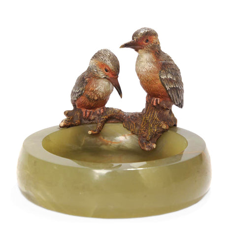 A Cold Painted Bronze Pair Kingfishers On Onyx Base - Austrian Art Deco c1925 (Code 7902)