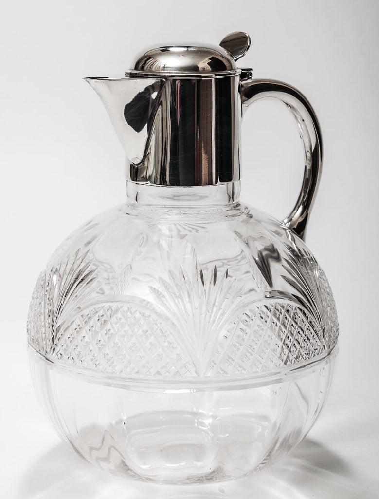 Victorian Antique Cut Glass Claret Jug With Hallmarked