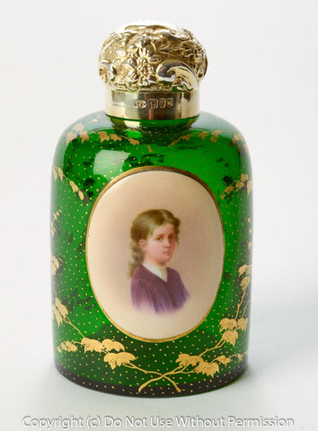A Fine Antique Bohemian Glass Scent/Perfume Bottle with Silver Mount & Portrait (code 8021) - Blue Cherry Antiques - 1