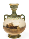 A Royal Worcester Hand Painted Rural Thatched Cottage Vase - Edwardian c.1908  (code8035)