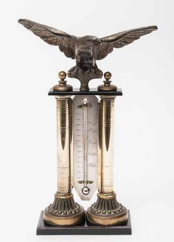 An Antique Mercury Study or Desk Thermometer Mounted with a Bronze Eagle (Code 8050) - Blue Cherry Antiques - 1