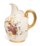 An Antique Royal Worcester Flatback Jug - Flowers on Ivory Ground (Code 8145)