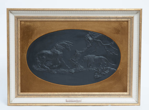A Wedgwood Black Basalt Plaque 'The Frightened Horse' by Stubbs (Code 8190) - Blue Cherry Antiques - 1
