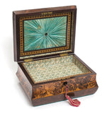 Rare Victorian Antique Tunbridge Ware Wooden Sewing Work Box Inlaid with Roses - Code (8202)