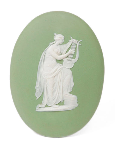 A Wedgwood Green Jasper Ware Oval Plaque Emblematic of Music - Antique c1900 (Code 8230)