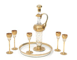 A Grand Antique Bohemian Liqueur Glass Set with Decanter, Glasses & Tray c1900 (Code 9129)