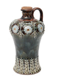 Antique Victorian Doulton Lambeth Stoneware Flagon with Dark Mottled Glaze (Code 9190)