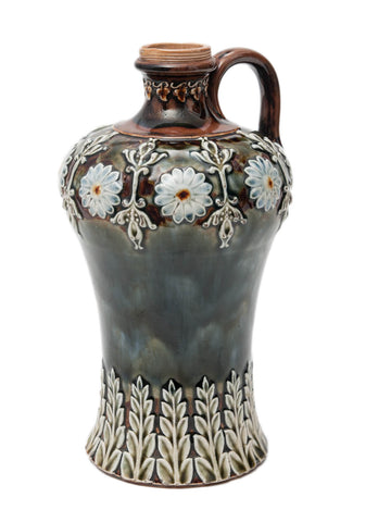 Victorian Antique Doulton Lambeth Stoneware Flagon with Dark Mottled Glaze (Code 9190) - Blue Cherry Antiques - 1