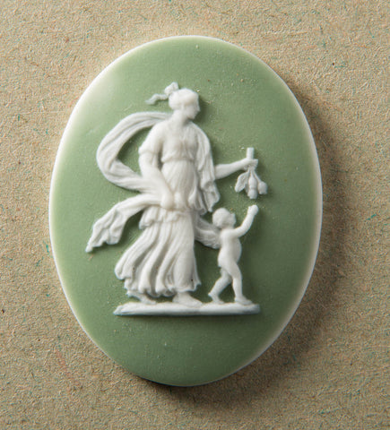 Antique Wedgwood Oval Shape Green Jasperware Classical Miniature Medallion (Code 9493) - Blue Cherry Antiques - 1
