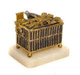 Antique Gilt Bronze Table Vesta / Trinket Box in Birdcage Shape with Birds (Code 9803)