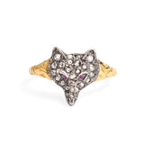 Edwardian Antique Gold, Diamond & Ruby Set Fox Head Ring - Size Q (Code A259)