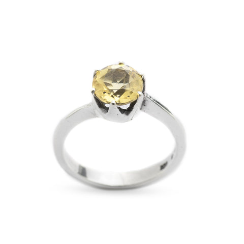 Pretty Vintage Sterling Silver Solitaire 1.15ct Citrine Gemstone Ring Size K (Code A292)