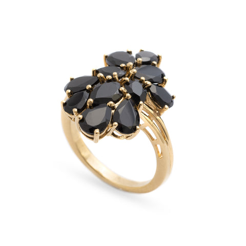 Vintage Large Gold Plated Silver Cocktail/Dress Ring With Black Garnet Cluster S (Code A295)