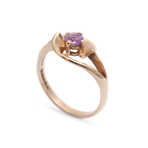 Vintage 9ct Gold & Amethyst Ring With Interesting Stylised Floral Mount Size P (Code A298)
