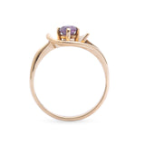 9ct Gold & Amethyst Ring With Interesting Stylised Floral Mount - Vintage Size P (Code A298)