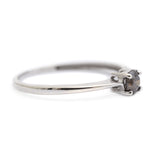Elegant & Delicate 9ct White Gold & Solitaire Cognac Diamond Ring Size N (Code A303)