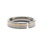 Titan Designer Titanium, Gold & Diamond Tension Set Flat Court Ring Size O (Code A321)